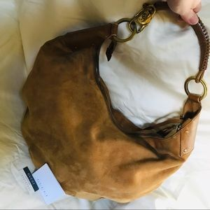 Gucci Suede/Leather Crescent Hobo w/Pouch &Tassels